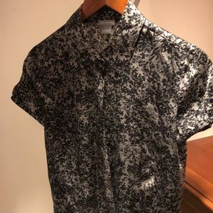 Ann Taylor black and silver blouse